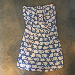 Lilly Pulitzer Elephant Strapless Dress